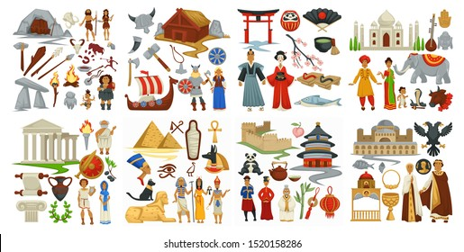 Culture and symbols of Greek and Japanese, Chinese and Antiquity vector. Cave and tools used in ancient ages. Architecture of china and india. Drakkars and vikings times. Taj mahal and torru gate