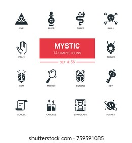Culture theme, mystic - line design icons set. Items for fortunetelling, things to tell the future. Snake, skull, eye, elixir, palm, charm, gem, mirror, scarab, key, scroll, candles, sandglass, planet