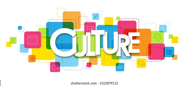 CULTURE vector typography banner on colorful squares with various symbols
