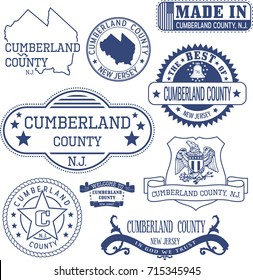 Cumberland county, New Jersey. Set of generic stamps and signs