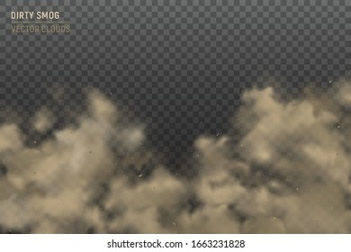 Cumulus clouds closeup realistic image against heavy smog dirty air pollution hazy effect background transparent vector illustration