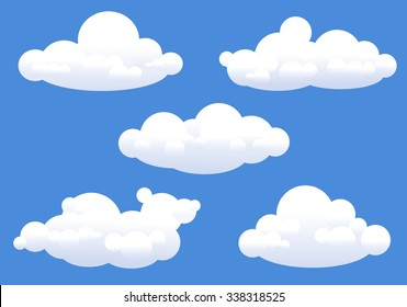 Cumulus clouds with sharp edges in blue sky