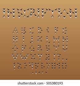 Cuneiform-style English font with cryptography effect. Vector set of alphabet, numbers and symbols.