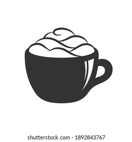 Cup of beverage with foam and cream on mug with highlight silhouette. Simple minimal flat clip art, icon or logo for cafe shops, beverages, caffeine, restaurants, etc. Vector illustration.