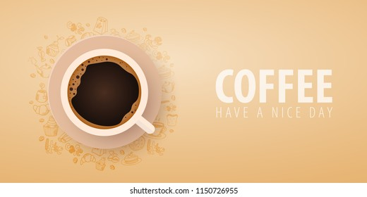 Cup of Black coffee with the hand-draw doodle elements on the background. Coffee banner for ads