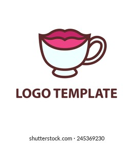 cup of black coffee template logo lips smile stylized vector