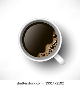 A cup of black coffee top view. Realistic vector. 3d model americano in white cup isolated on white background
