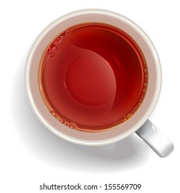 Cup of black tea. illustration vector.