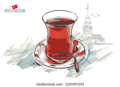 A cup of black tea and The Maiden's Tower (Kiz Kulesi) on a white background. Turkey city design. Hand drawn illustration.