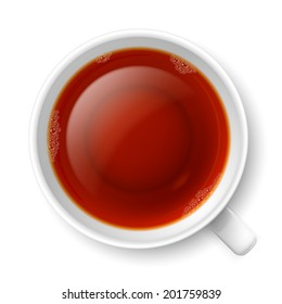 Cup of black tea over white background. Top view