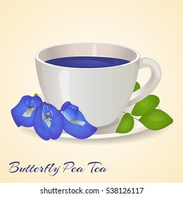 Cup of Blue tea with Butterfly Pea flowers and leaves isolated on orange background. Blue Pea Tea. Clitoria Ternatea. Vector illustration