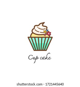 Cup cake symbol vector illustration on the white background shows the simple of line and shape.