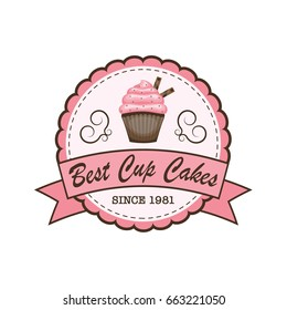 Cup cakes bakery logo, banner, label