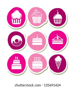 Cup cakes and sugar food over white background vector illustration