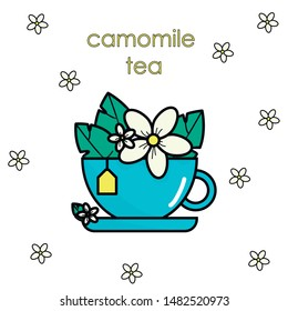 A cup of camomile tea. Camomile flowers and leaves in a tea cup. Floral vector design.