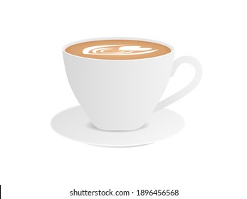 Cup with cappuccino side view. Porcelain white tableware with brown hot drink with froth and heart tracery vector cream.