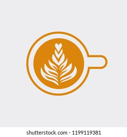 Cup of cappuccino with tree vector