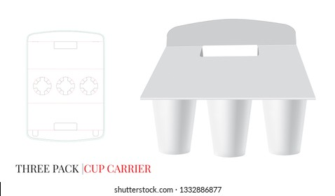 Cup Carrier Template, Three Pack Cardboard Carrier. Vector with die cut / laser cut layers. White, clear, blank, isolated Beer, Coffee Pack Holder mock up on white background with perspective view
