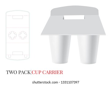 Cup Carrier Template, Two Pack Beer Carrier. Vector with die cut / laser cut layers. White, clear, blank, isolated Beer, Coffee Pack Holder mock up on white background with perspective view