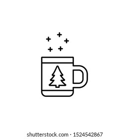 cup, Christmas, tree line icon on white background