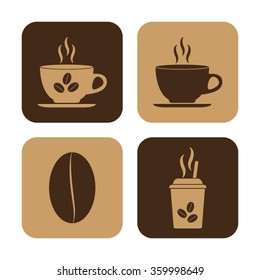 Cup of cofee  - vector icon; set