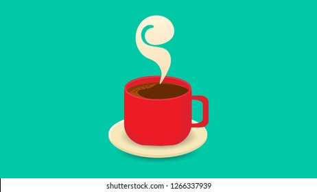Cup of Coffe icon vector illustration with flat style design.