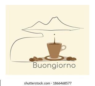 Cup of coffe neapoitan, Mocha neapolitan, Italy, Vesuvio, good morning, wake up, coffee break. Drink, Breakfast cartoon concept. Good mood, energy drink. Flat vector illustration, isolated objects.