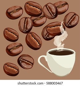 Cup of coffee and coffee beans. Close up, isolated.