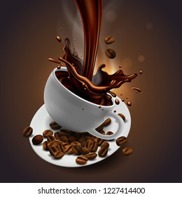 Cup of coffee, coffee beans, coffee jar and splash effect,  high detailed realistic transparent  illustration.