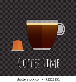 Cup of coffee and capsule isolated on black, vector illustration. Cup of espresso and coffee capsule icon. Vector icon of espresso capsule. Coffee time concept illustration.