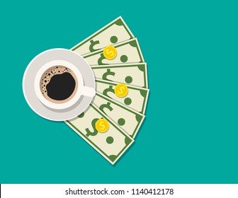 Cup with coffee, cash and coins. Gratuity concept. Vector illustration in flat style