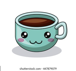 cup coffee character kawaii style  isolated icon design