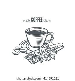 Cup of coffee with cinnamon and coffee beans. Decorative icons coffee in old  ink style for  brochures, banner, restaurant menu and cafe.  Vector hand drawn illustration cup coffe with spices.