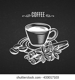 Cup of coffee with cinnamon and coffee beans. Decorative icons coffee in old chalk board style for brochures, banner, restaurant menu and cafe. Vector line art illustration cup coffe with spices.
