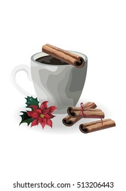 Cup of coffee with cinnamon and Christmas flower isolated on white background.Christmas mood.