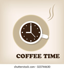 Cup of coffee with clock on its surface. Coffee time, coffee break concept vector.