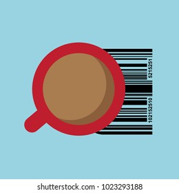 Cup of coffee with code- graphic for business design, infographics, reports or workflow layout in flat style