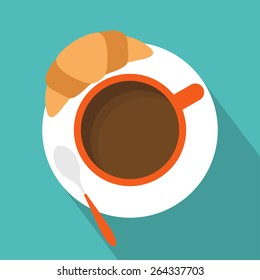 Cup of coffee with croissant icon. Flat design. Vector illustration
