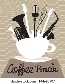 cup of coffee with different musical instruments