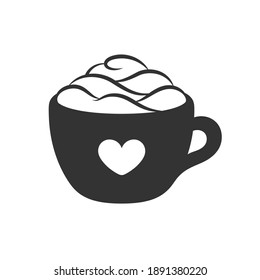Cup of coffee with foam, cream and heart symbol on mug silhouette. Simple flat icon and logo for cafe shops, beverages, caffeine, restaurants, etc. Vector illustration design.