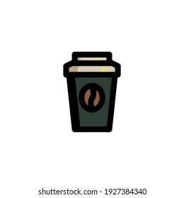 A Cup of Coffee Foods Icon Logo Vector Illustration. Outline Style