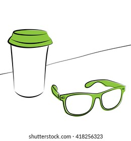 Cup of coffee and glasses hipster/ Stylish cup of hot coffee in the morning and trendy hipster testes on a white background.