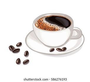 Cup of coffee, grain, vector
