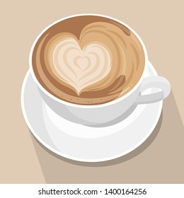 Cup of coffee with heart latte art . White cup on brown pastel background. Top view. Vector illustration.