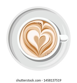 Cup of coffee with heart shape on top isolated on a white background. Top view.
