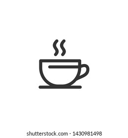 Cup of coffee. Coffee cup icon template black color editable. Coffee symbol Flat vector sign isolated on white background. Simple logo vector illustration for graphic and web design.