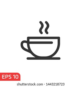 Cup of coffee icon template black color editable. coffee symbol vector sign isolated on white background illustration for graphic and web design.