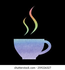 cup of coffee icon. Watercolor effect