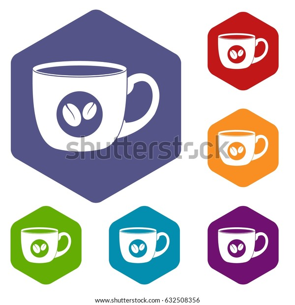 Cup of coffee icons set hexagon isolated vector illustration