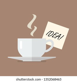 Cup of coffee with idea wording on sticky note. flat style design
